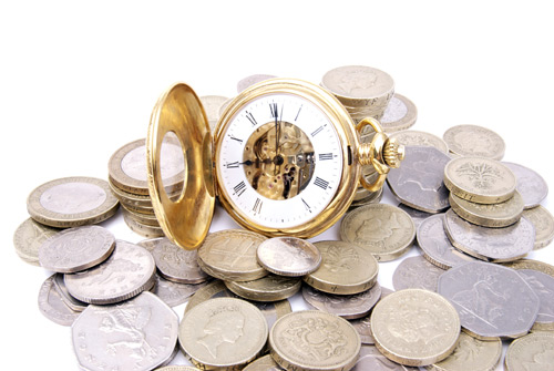 image of money and pocketwatch